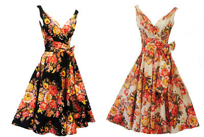 """New Rosa Rosa Vtg 1950s Floral""""English Rose"""" Rockabilly Summer Party Prom Dress"""