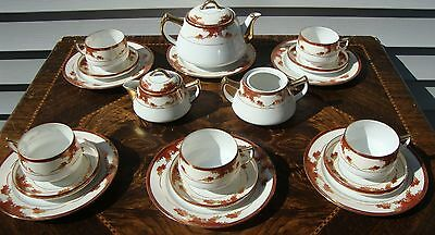 Soko Hand Painted Fall Leaves Tea Set - Gold Trim - Vintage Japanese China