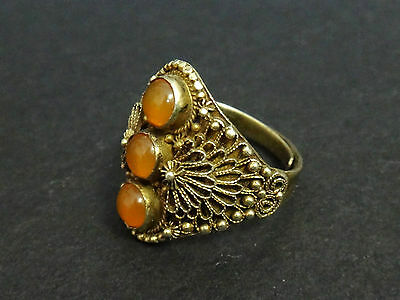 Antique Vintage Chinese Sterling Silver Vermeil Ring With Carnelian
