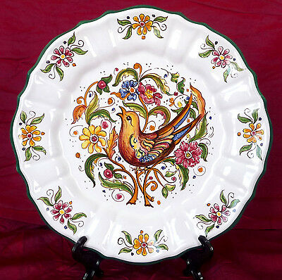 SIGNED VINTAGE CABINET PLATE Hand painted with Bird and Flowers - F.S. 135/25/A