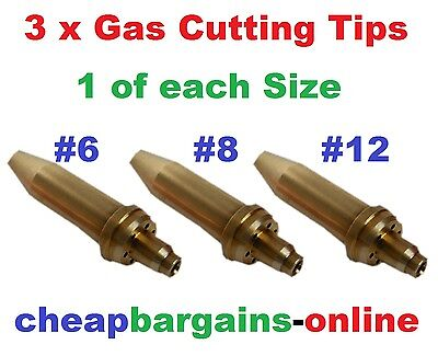 Gas Welding Cutting Tips Type 41 3 Tips #6 #8 #12 Nozzles For Oxy Acetylene Set