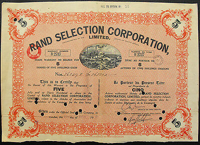 Südafrika South Africa Rand Selection Corporation alte Aktie 1937 share mining