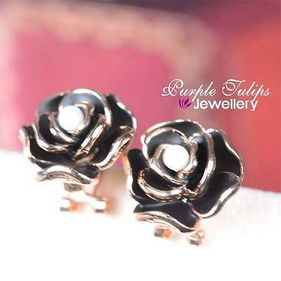 18CT Rose Gold GP Beautiful Black Glaze Flower&Pearl Earrings W/Back French Clip