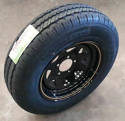 """13"""" Sunraysia BLACK Rim Holden HT fitted with 155R13C Light-Truck Tyre"""