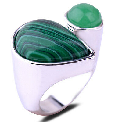 Silver Plated Pear&Round Jade&Agate Cut 3 Colors Ring Size 6.5 8 9 Women Party