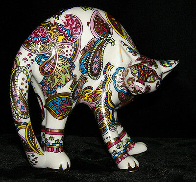 PAUL CARDEW COOL CATZ PAISLEY ARCHING CAT FIGURINE RARE PATTERN DESIGNED ENGLAND