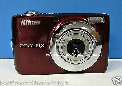 NIKON Coolpix L22 RED-RECONDITIONED-DEPENDABLE-CLEAR PICTURE-LIGHT WEIGHT
