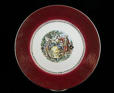 Imperial by Salem China Co. Service Plate Victorian Scene Plate 23 kt Gold Trim