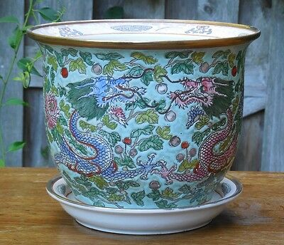 Qing Dynasty Signed Cloisonne Dragons Silk Cocoons Chrysanthemum Flower Pot