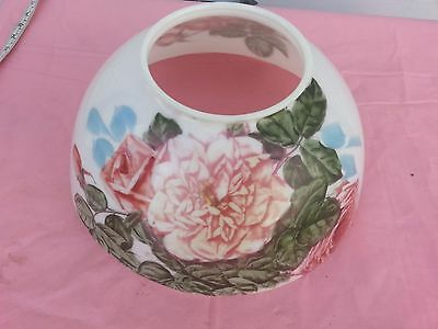 "VICTORIAN  RED ROSES 14"" HANGING LAMP SHADE ALADDIN PARLOR OIL KEROSENE LIBRARY"