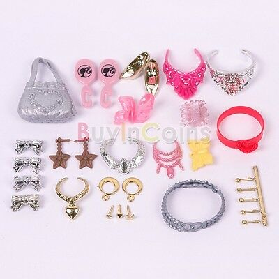 Jewelry Necklace Earring  Comb Shoes Crown Accessory For Barbie Dolls BIUS#