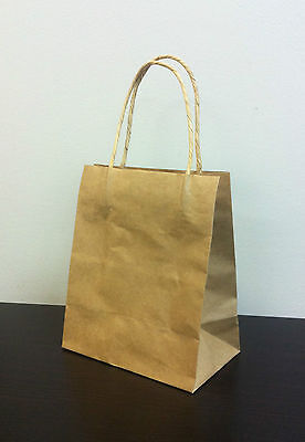 50pcs Toddler KRAFT  Paper Gift Carry Shopping Bags with handles 200x170x100
