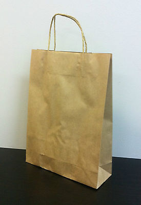 50pcs MEDIUM KRAFT Brown Paper Gift Carry Shopping Bags with handles 350x260x90