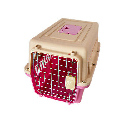 Plastic Pet Carrier For Dog Puppy Cat Kitten Small Pink Animal Travel Holiday