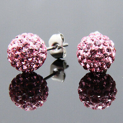 TOP QUALITY Pink Crystal Sparkle Diamante Disco Ball 6MM Silver Stud Earrings*
