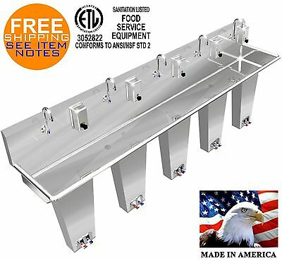 "Hand Sink 5 Person 120"" Pedal Valve Columns 2 Welded Drains Made In America"