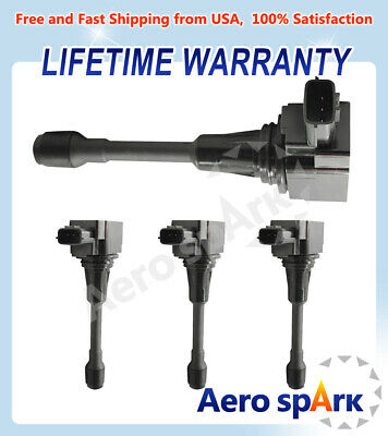 Set of 4 Ignition Coils For Nissan Altima Sentra Cube Rogue 22448-ED000 UF549