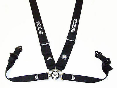 """Sparco Competition 4 Point Snap-In 3"""" Seat Belt Harness with Camlock (Black) FIA"""