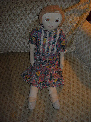 Antique Flapper Rag/Cloth Doll, Embroidered Face, Dress