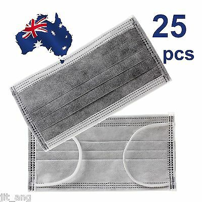 25pcs Disposable Bamboo Charcoal Activated Carbon 4lyrs Earloop Face Masks (OZ)