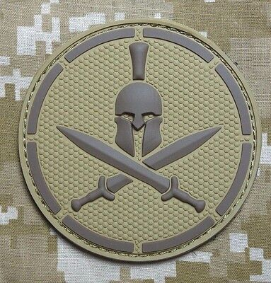 SPARTAN DESERT TACTICAL COMBAT BLACK OP BADGE MORALE PVC VELCRO MILITARY PATCH