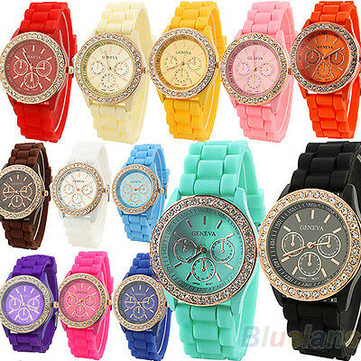 Women Girl Lady Geneva Silicone Golden Crystal Stone Quartz Jelly Wrist Watch