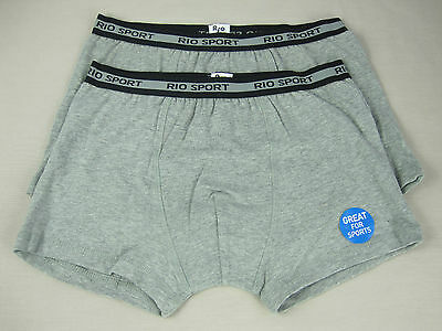 Rio Sport Boys 2 Pack Stretch Cotton Trunks Underwear sizes 12 14 Colour Grey