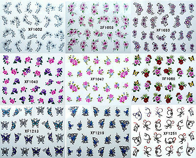 Flower Butterfly Nail Art Water Transfer Decals Manicure UV Acrylic Decoration