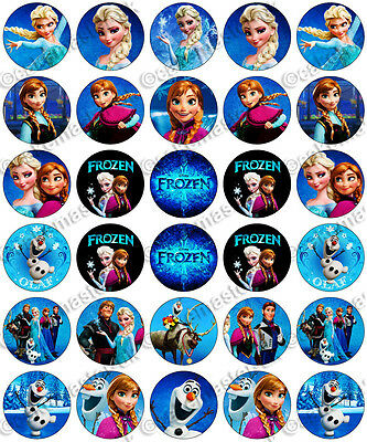 30 x Frozen Birthday Collection Edible Rice Wafer Paper Cupcake Toppers