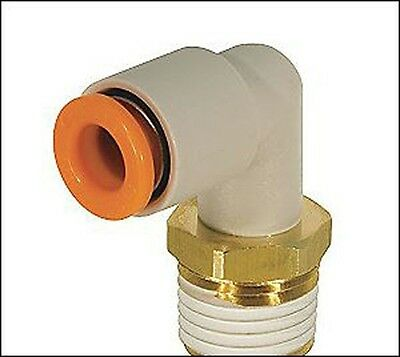 """SMC 6MM OD Tube X 3/8"""" UniFit Male Elbow Push to Connect  Air Fitting KQ2L06-U03"""