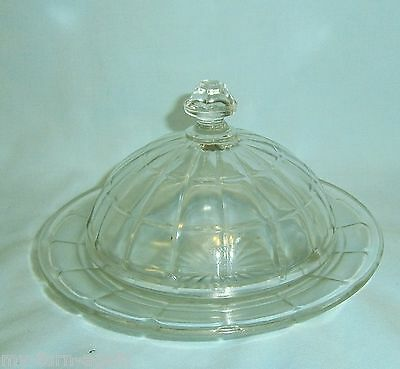 Vintage Hazel Atlas Depression Colonial Block Round Dome Covered  Butter Dish