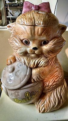 Treasure Craft Mischievous Kitty Cat with Paw in the Cookie Jar Ceramic Pink Bow