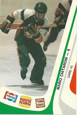 """3.5""""X5.25"""" Sudbury Wolves Tean Issued Cards from 1985 of Mario Chitaroni"""