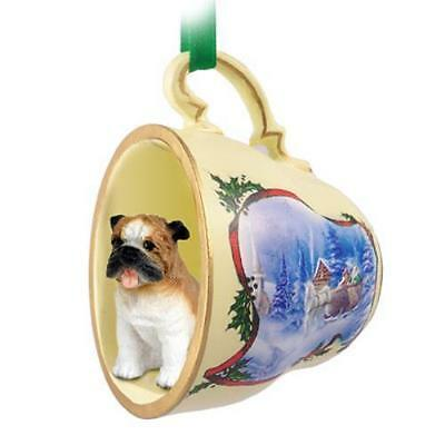 No.Stcd05A Bulldog Tea Cup Sleigh Ride Holiday Ornament