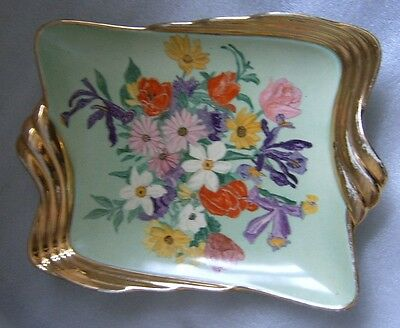 VINTAGE ROYAL WINTON HAND PAINTED ARTIST SIGNED M. C. STILL LIFE OF FLOWERS DISH