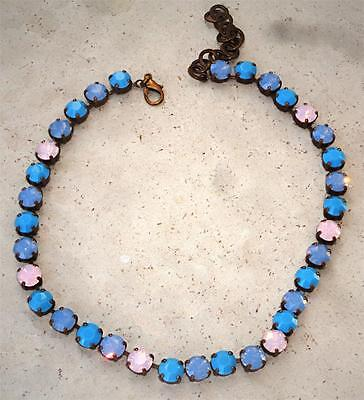 Swarovski crystal tennis necklace 8mm fancy stones turquoise , blue opal