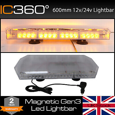 LED 600mm Magnetic Amber Light Bar Beacon Recovery 60 CM 0.6 Metre 24""