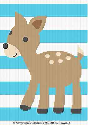 Crochet Patterns - DEER - WOODLAND STRIPES Baby Graph/Chart Afghan Pattern *EASY