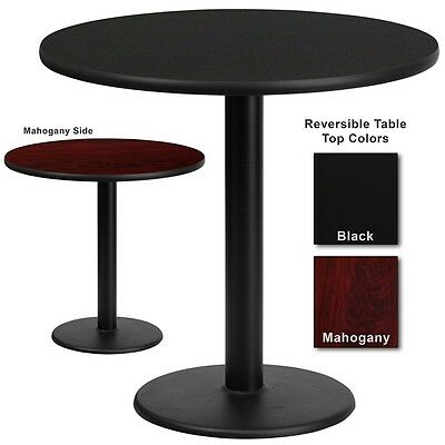 """30"""" Round Restaurant Table with Black or Mahogany Laminate Top"""