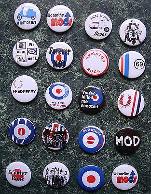 MOD COLLECTION  20 x 1 INCH BADGES SET 4 RETRO PARKER SCOOTER VESPA LAMBRETTA