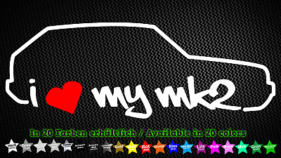 Chrom I Love my MK2 20 x 8 cm IN 15 FARBEN Sticker Aufkleber Neon