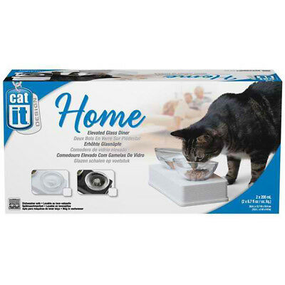 Catit Elevated Glass Twin Dishes Set - White