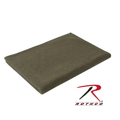 """Large Wool Winter Blanket Heavy Military Camping OD Green 62"""" X 80"""" Rothco 9093"""