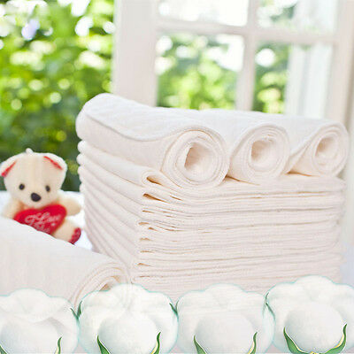 3Layers Baby Nontoxic Cotton Cloth Diaper Ecological Nappy Liner Insert Washable
