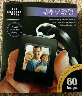 Digital Photo Keychain USB 2.0 1.5 Black LCD The Sharper Image Sealed ~NEW~