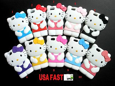 1X CUTE USA FAST SHIP HELLO KITTY CAT APPLE IPHONE 5/5S SOFT CASE COVER + GIFT