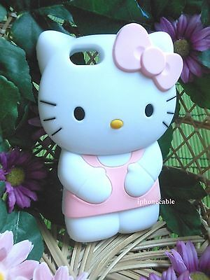 USA FAST SHIP HELLO KITTY CAT PINK CUTE 3D IPHONE 5/5S SOFT CASE COVER GIFT