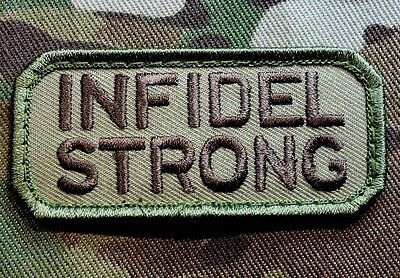 Infidel Strong Us Usa Army Morale Combat Military Badge Multicam Hook Patch