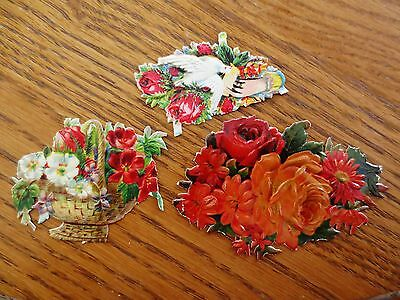 (3) Victorian 1800s Small Diecut Flower Embossed Design Items Decorations