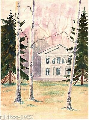 The Russian estate among birches 1983 Realism Water color vintage art USSR